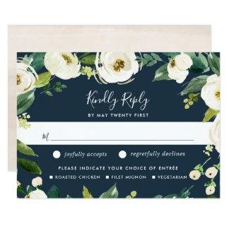 Cartão Cartão bem escolhido da refeição floral RSVP do