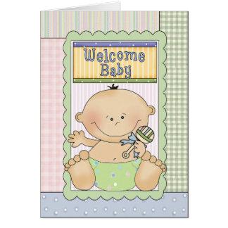 Cartão bem-vindo dos parabéns do bebé