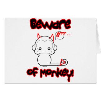 Cartão Beware do macaco