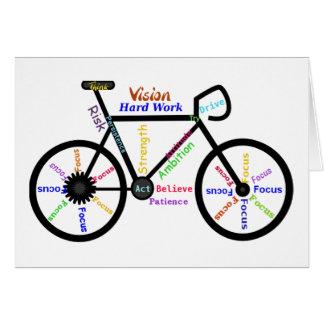 Cartão Bicicleta inspirador, ciclo, Biking, palavras do