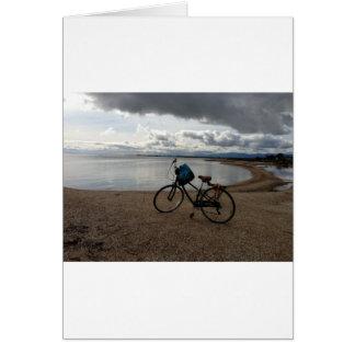 Cartão Bicicleta na praia