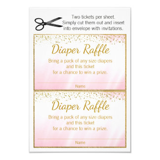 Cartão Bilhetes cor-de-rosa do Raffle da fralda das