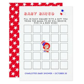Cartão Bingo americano do chá de fraldas do tio Sam
