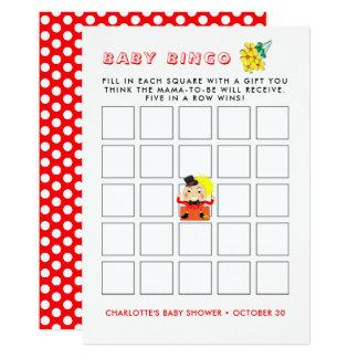 Cartão Bingo bonito do chá de fraldas da rima de berçário