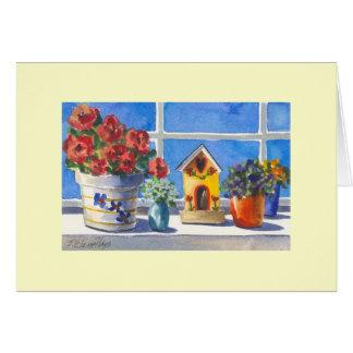 Cartão Birdhouse & flores da janela da cozinha