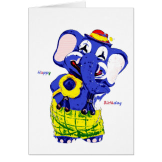 Cartão Birthday card elephant, Children's birthday