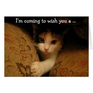 Cartão Birthday Card: The Kitty's coming!