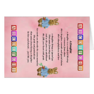 Cartão Blocos do bebê - poema da filha