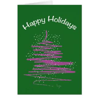 Cartão Boas festas com costume da árvore
