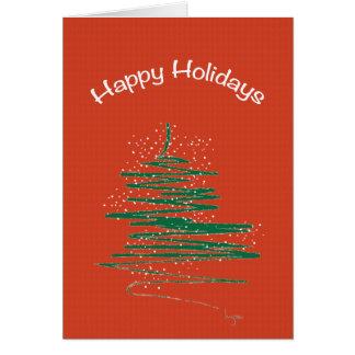 Cartão Boas festas com costume do vermelho da árvore