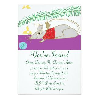 Cartão Boas festas rato na casa