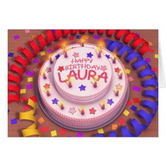 Cartão Bolo de aniversário de Laura