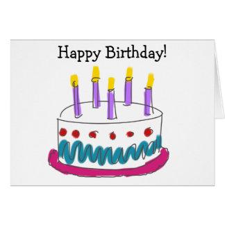Cartão & bolo do feliz aniversario