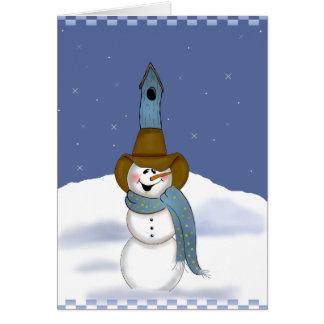 Cartão Boneco de neve do vaqueiro com Birdhouse