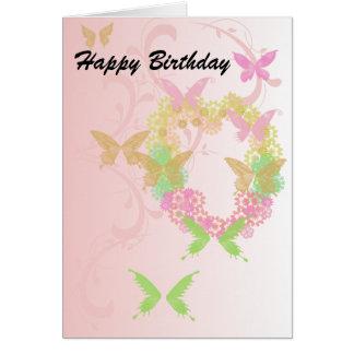 Cartão bonito com coração floral e borboletas