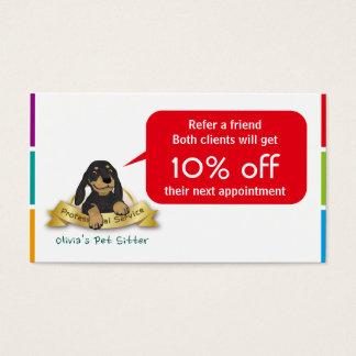 Cartão bonito da referência do cão preto