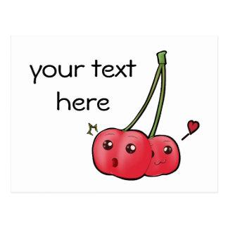 Cartão bonito das cerejas do kawaii para seu texto