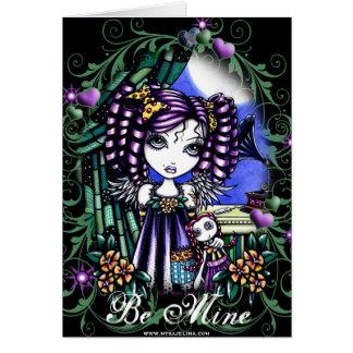 Cartão bonito do anjo da boneca de pano dos namora