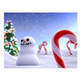 Cartão bonito do boneco de neve cartão postal