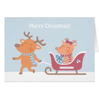Cartão bonito do trenó da rena do Feliz Natal