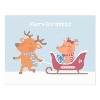 Cartão bonito do trenó da rena do Feliz Natal Cartão Postal