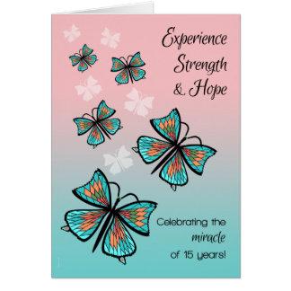 Cartão Borboleta limpa e sóbrio de um milagre de 15 anos