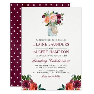Cartão Borgonha cora casamento cor-de-rosa do frasco de