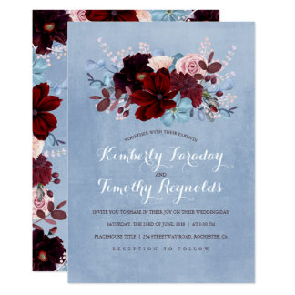 Cartão Borgonha e casamento elegante floral azul