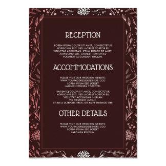 Cartão Borgonha e cora convidado da informação do