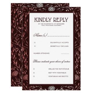 Cartão Borgonha e cora o casamento vintage floral RSVP