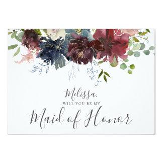 Cartão Borgonha e floral azul sejam minha madrinha de