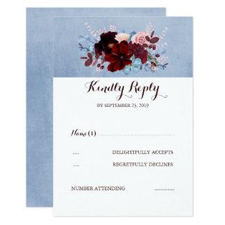 Cartão Borgonha e RSVP Wedding azul empoeirado