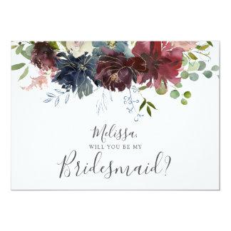 Cartão Borgonha e vontade floral azul você seja minha
