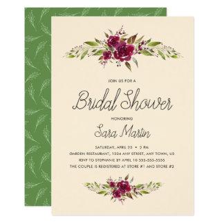 Cartão Borgonha Marsala floral e mostra nupcial das