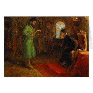 Cartão Boris Godunov com Ivan o terrível