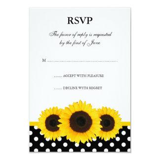 Cartão branco e preto do girassol das bolinhas da convite 8.89 x 12.7cm
