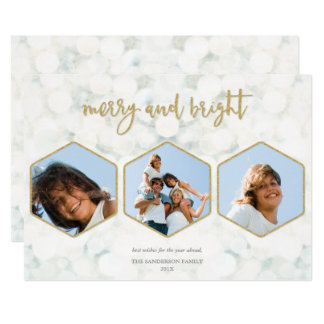 Cartão Branco moderno+Feliz do ouro e foto múltipla