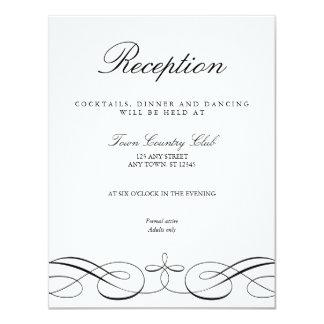 Cartão branco preto elegante da recepção de