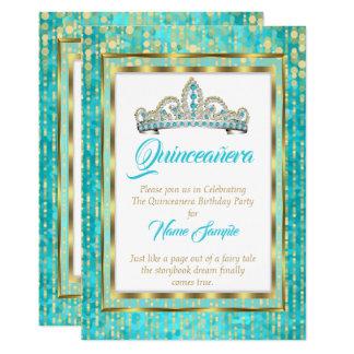 Cartão Branco régio da princesa Azul Cerceta Quinceanera