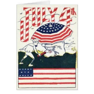 Cartão Brincadeira do foguete dos fogos-de-artifício da