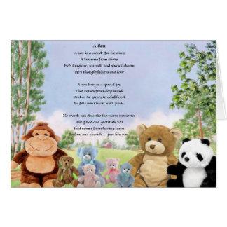 Cartão Brinquedos peluches - poema do filho