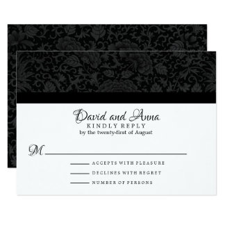 Cartão Brocado floral preto elegante que Wedding RSVP
