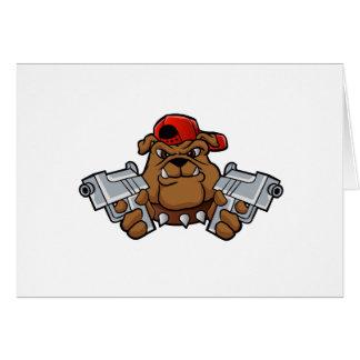 Cartão buldogue do gângster com pistolas