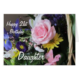 Cartão Buquê cor-de-rosa Filha-Cor-de-rosa do aniversário