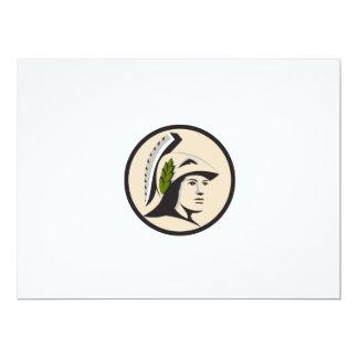 Cartão Cabeça de Minerva que olha o círculo lateral retro