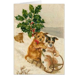 Cartão Cães do vintage, Natal