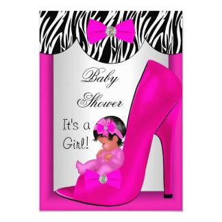Cartão Calçados de bebê étnicos bonitos 2E do rosa quente