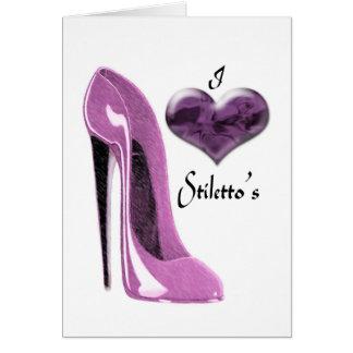 Cartão Calçados e coração do estilete do Mulberry do amor