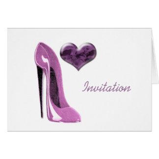 Cartão Calçados e coração do estilete do rosa do mulberry