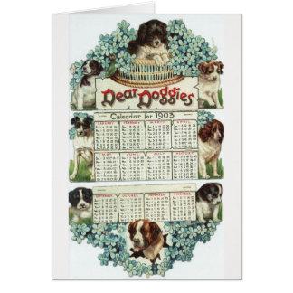 Cartão Calendário dos cachorrinhos do Victorian